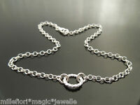 "Sterling Silver Bracelet Or Ankle Chain Anklet ~ Oval Design 7"" 8"" 9"" 10"" 11"""