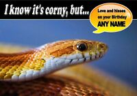 PERSONALISED CORN SNAKE REPTILE BIRTHDAY CARD Top Quality + Illustrated Insert