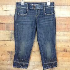 LTB Womens Distressed Studded Denim Capri Style 4922  Low Rise Jeans Size 29
