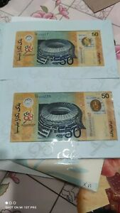1998 MALAYSIA RM50 SUKOM COMMEMORATIVE COMMONWEALTH GAMES POLYMER 2PCS UNC
