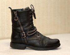 500$ LORIBLU Italy black leather chunky laceup ankle combat boots 39 uk6 us8-8.5