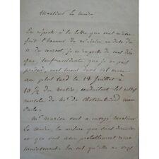 Lettre autographe Chateaubriand neveu organise les funérailles de son oncle