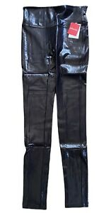 NWT SPANX Faux Leather Croc Shine Leggings size S M or L Brown Black Slimming