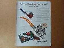 1941 HALF and HALF Tobacco Fancy Silver MEERSCHAUM PIPE  vintage art print ad