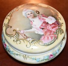 """D & C DELINIERES LIMOGES HAND PAINTED TRINKET BOX PORCELAIN LADY ROSES SIGNED 5"""""""