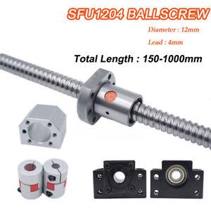 SFU1204 Rolled BallScrew Length 150-800mm Ballnut + BK/BF10 End Support Coupler