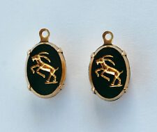 VINTAGE GLASS OVAL ZODIAC ASTROLOGY BEAD PENDANTS 10x14mm GREEN • ALL SIGNS