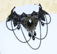Choker Halsband Collier Vintage Gothic Blogger Kropfband Kette Schwarz 013(NEU)
