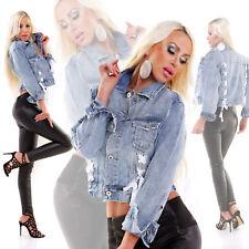 Verwaschene Oversize-Jeansjacke mit Zier-Schnürungen
