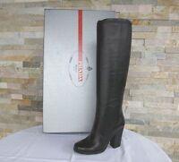 PRADA Gr 36 Stiefel Boots Stivali Schuhe shoes Nappaleder schwarz NEU UVP 750€