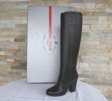 PRADA Gr 39 Stiefel Boots Stivali Schuhe shoes Nappaleder schwarz NEU UVP 750 €