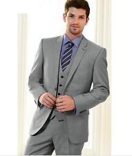 Grey Custom Men Wedding Groom Tuxedos Best Man Groomsmen Suit 3 Pieces Tuxedos