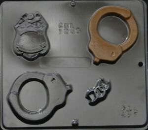 Police Assortment with Handcuffs Chocolate Candy Mold 1245 NEW