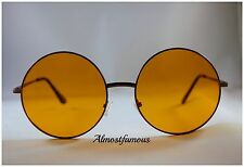 Circle Round Vintage Retro Fashion Cyber Hipster Hippie Sunglasses Oversized UK Gold Frame Yellow Lens