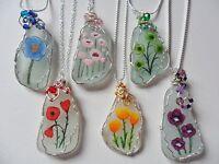 Hand painted POPPY sea glass necklaces, Swarovski/Miyuki beads silver plated