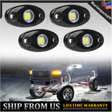 White Led Rock Lights 4 Pods Underbody Light For Jeep Offroad Truck Utv Atv Boat