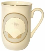 "Otagiri White Coffee Cup White Sea Shell Pattern With Gold Trim Approx 4"" Tall"