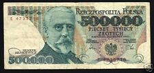 POLAND 500000 500,000 HALF MILLION ZLOTYCH 1990 P156 BOOK FLAG SHIELD USED NOTE