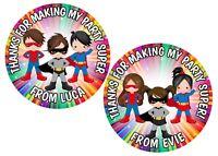 SUPERHERO  BOYS & GIRLS PERSONALISED GLOSS, BIRTHDAY PARTY, SWEET CONE STICKERS