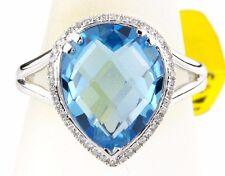 Women's 6.11 ct Topaz & Diamond G/SI2 GIA Spec Halo Ring in 14k Solid White Gold