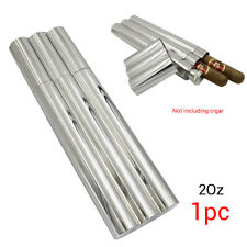 Portable Stainless Steel Hip Flask W/2Cigar Case Tube Travel Humidor Holder New