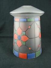 ANTIQUE HAND PAINTED GLASS LANTERN CEILING PENDANT SHADE, ARTS & CRAFTS STYLE