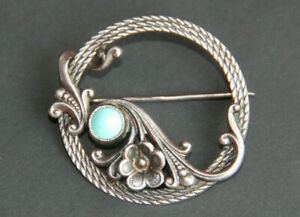 Brooch Decoration Silver 925 Stone Mineral TURQUOISE MADE in USSR Vintage