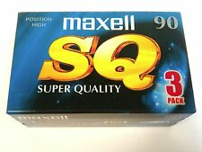 Maxell SQ 90 3pk Chrome Blank Audio Cassette 90 Minute Tapes Sealed Stock