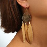 Women's Retro Ethnic Feather Tassels Dangle Charm Eardrop Hook Earrings Jewelry