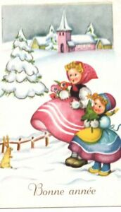 VINTAGE NEW YEAR GREETING postcard:  CHILDREN & RABBIT snow scene church