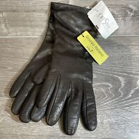 NEW GI GRUPPO ITALIANO SZ 7.5 BROWN LEATHER GLOVES 100% CASHMERE LINED WOMEN'S