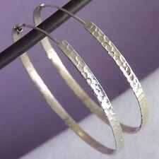 HAMMERED HOOPS SilverSari Creoles Earrings (L) Solid 925 Sterling Silver ES1033