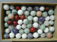 Agate Marbles 3 Of 3/4 to 7/8 Inch Also Jasper Quartz Amethyst Vintage  Stone