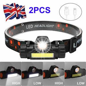 2PCS USB Rechargeable LED Headlamp Head Torch Flashlight Work light Headlight UK