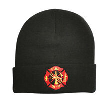 Fire Fighter Acrylic Knit Beanie Watch Cap w/ Embroidered Fire Dept. Logo