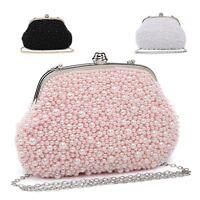 Ladies Diamante Clasp Pearl Clutch Bag Cocktail Party Bag Handbag Purse ME68015