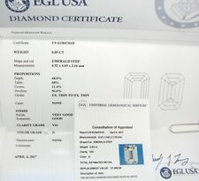 CERTIFIED EMERALD CUT DIAMOND .85 CARAT D VS1 UNTREATED