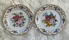 Beautiful Painted Floral Porcelain 8.25� Plates Gold Gilt Estate Vintage Antique