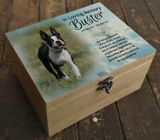 Wooden box urn casket, memorial keepsake, Personalised Boston Terrier dog