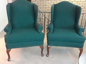 Pair of Green Fabric Wingback Chairs