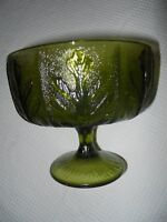 DEPRESSION GREEN GLASS PEDESTAL COLLECTIBLE COMPOTE  40'S  50'S 60'S