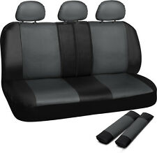 SUV Van Truck Seat Cover Grey Black 8pc Bench w/Belt Pads Synthetic Leather