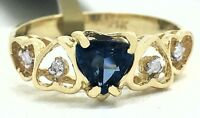 NATURAL 0.65 Cts BLUE SAPPHIRE & DIAMONDS 14k Yellow Gold RING * Free Appraisal