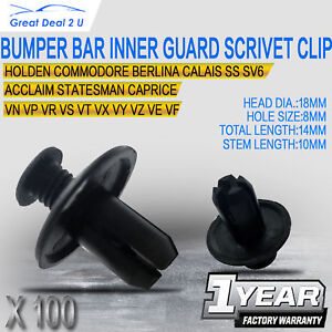 100 x 8MM Bumper Bar Inner Guard Splash Guard Air Box Scrivet Clip Fits Holden