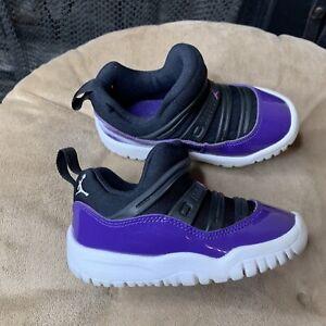 Nike Air Jordan 11 Retro Sz 7C Little Flex TD Toddler BLK/PURPLE BQ7102-005