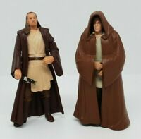"1999 Star Wars 3.75""  Figure Qui-Gon Jinn & Obi Wan Kenobi Bundle + Cloak Jedi"
