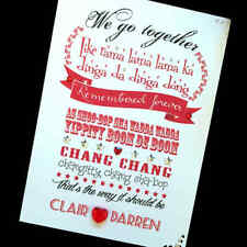 "Hand-made personalised ""Grease - We go together ' Valentine Card"