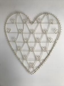 Sass&Belle Cream Heart Wire Notice Board / Display Board / Wall Hanging
