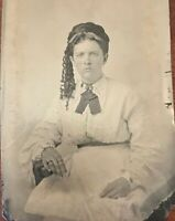 Antique Tin Type Photo Portrait of a Young Lady Vintage Early Old Tintype