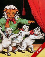 CREEPY CATS EATING PIE CAT KITTEN PET ANIMAL ART PAINTING REAL CANVAS PRINT